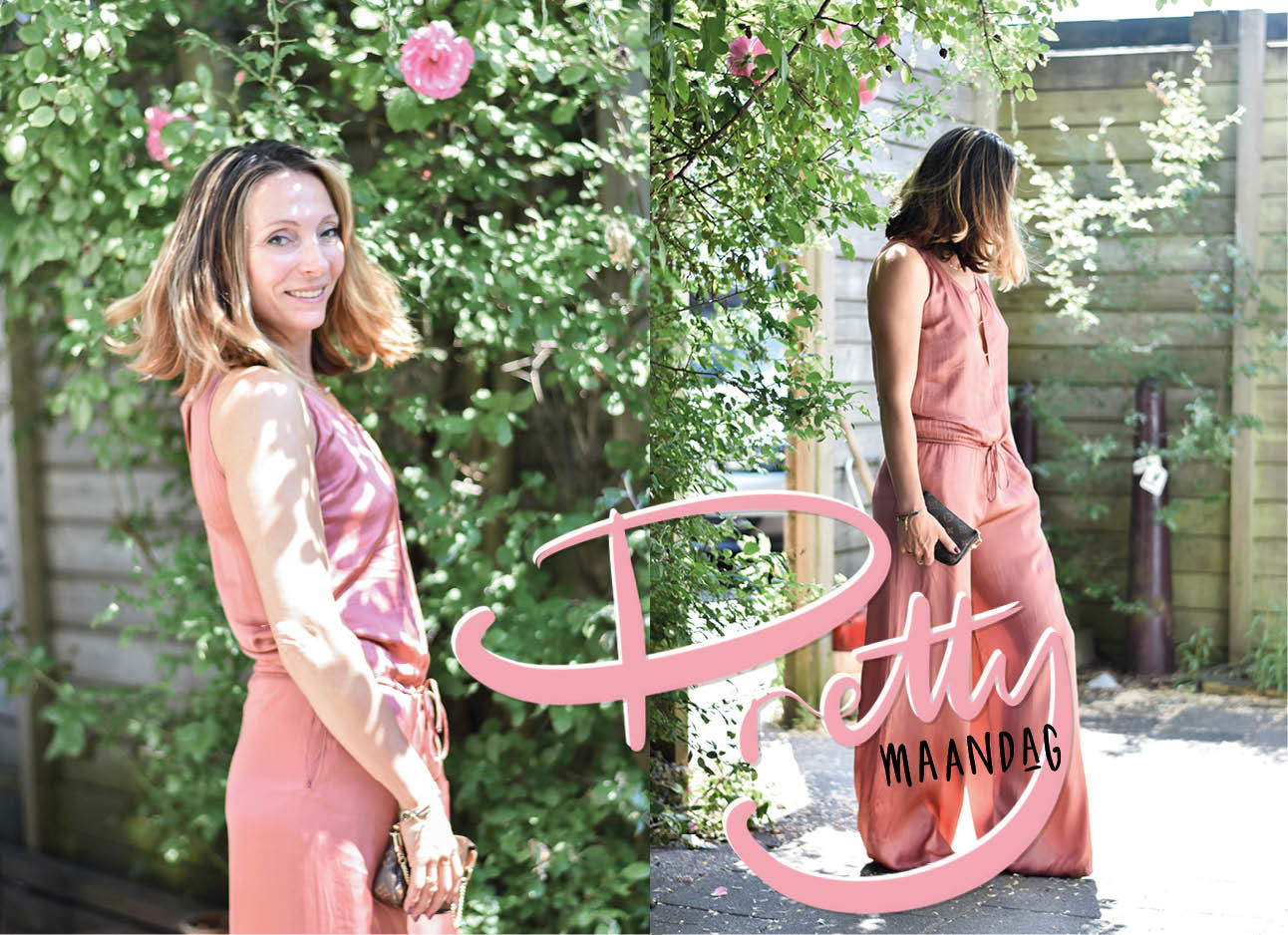 look of the day may-britt mobach lachend in de roze rozen tuin in een roze satijne jumpsuit