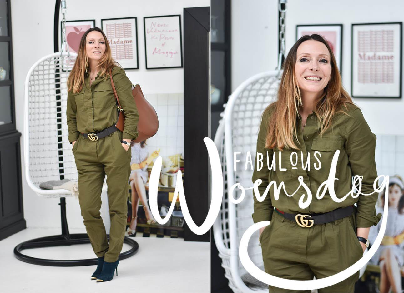 look of the day May-Britt Mobach in een groen pak met hakken eronder en wander tas