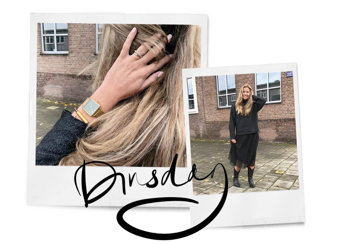 Tessa Heinhuis cluse horloge zwarte rok en zwarte glitter trui