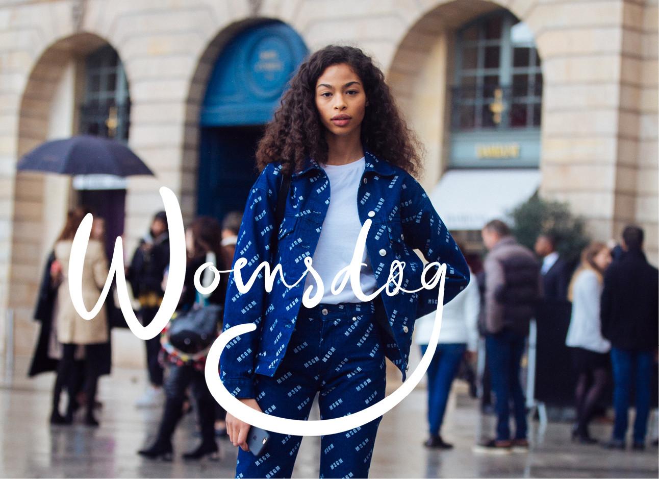Look of the day super model Zoet Thaets in parijs op straat met een spijkepak aan en een witte top