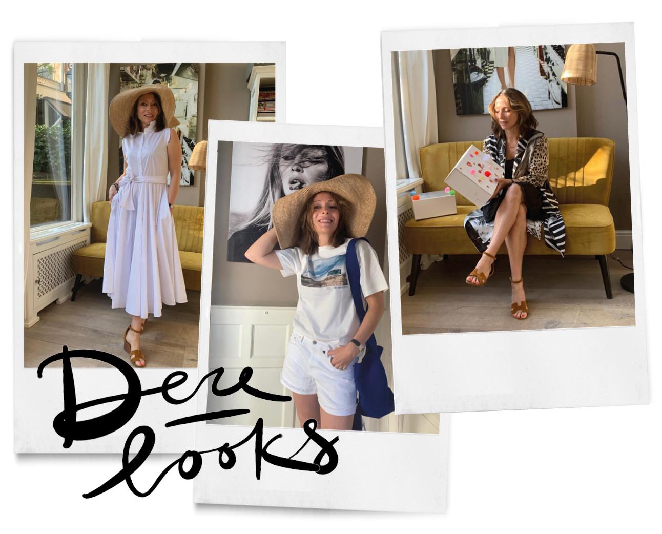 Looks van May in een witte jurk en een grote hoed thuis Pauw Amsterdam