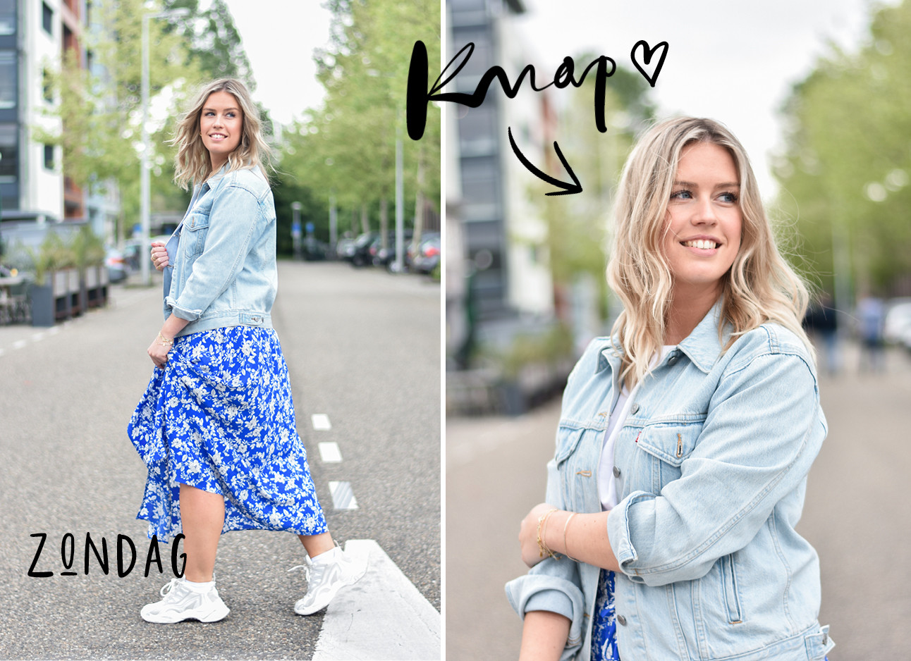 annick in de look of the day, denim jasje, blauwe midi rok met witte print, witte sneakers, beach waves