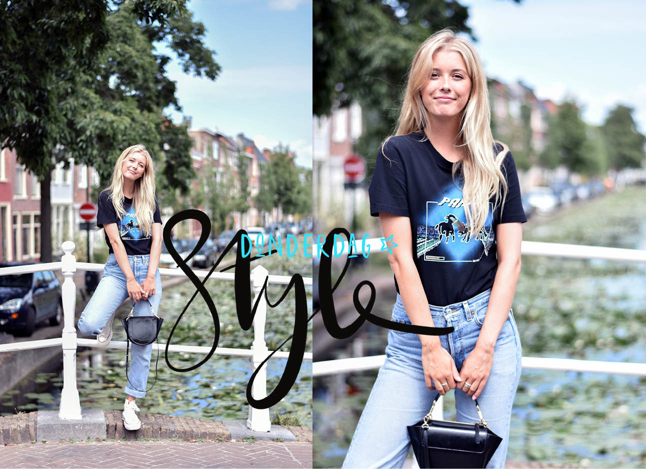 Annabelle van Hardeveld in een zwart T-shirt, jeans, all stars in off white, blond haar
