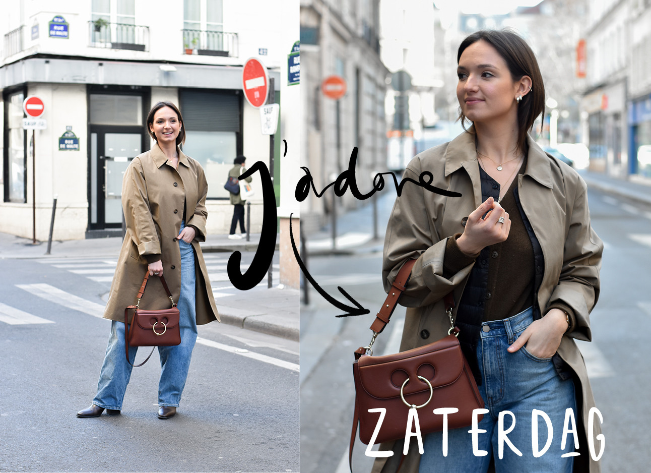 carlotta in streets of paris holding bag wearing coat, outfit Uniqlo