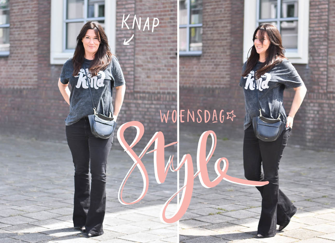 danielle in de look of the day in een t-shirt en zwarte flarejeans