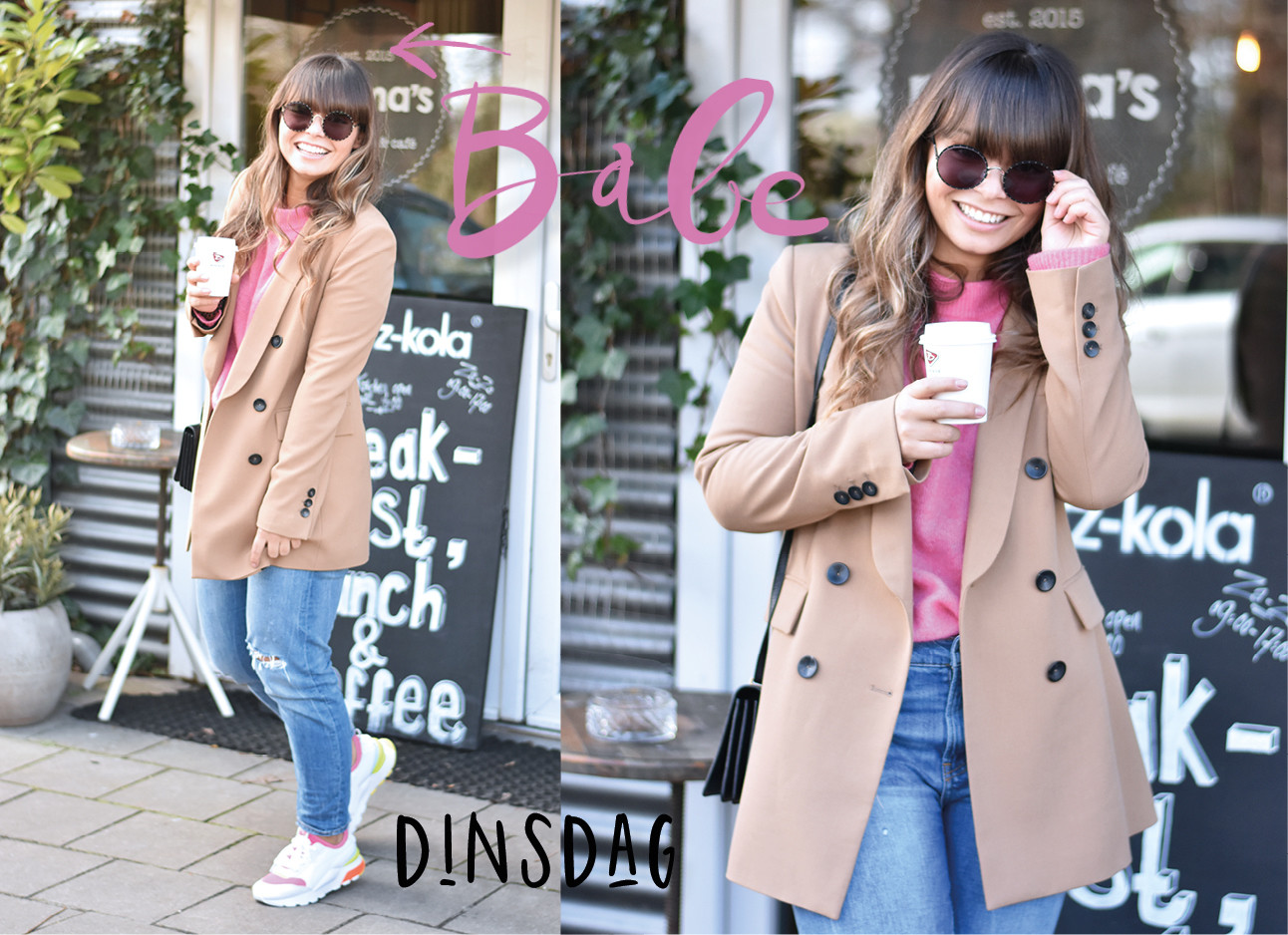 kiki duren standing outside holding coffee wearing coat, pink sweater and neon sneakers