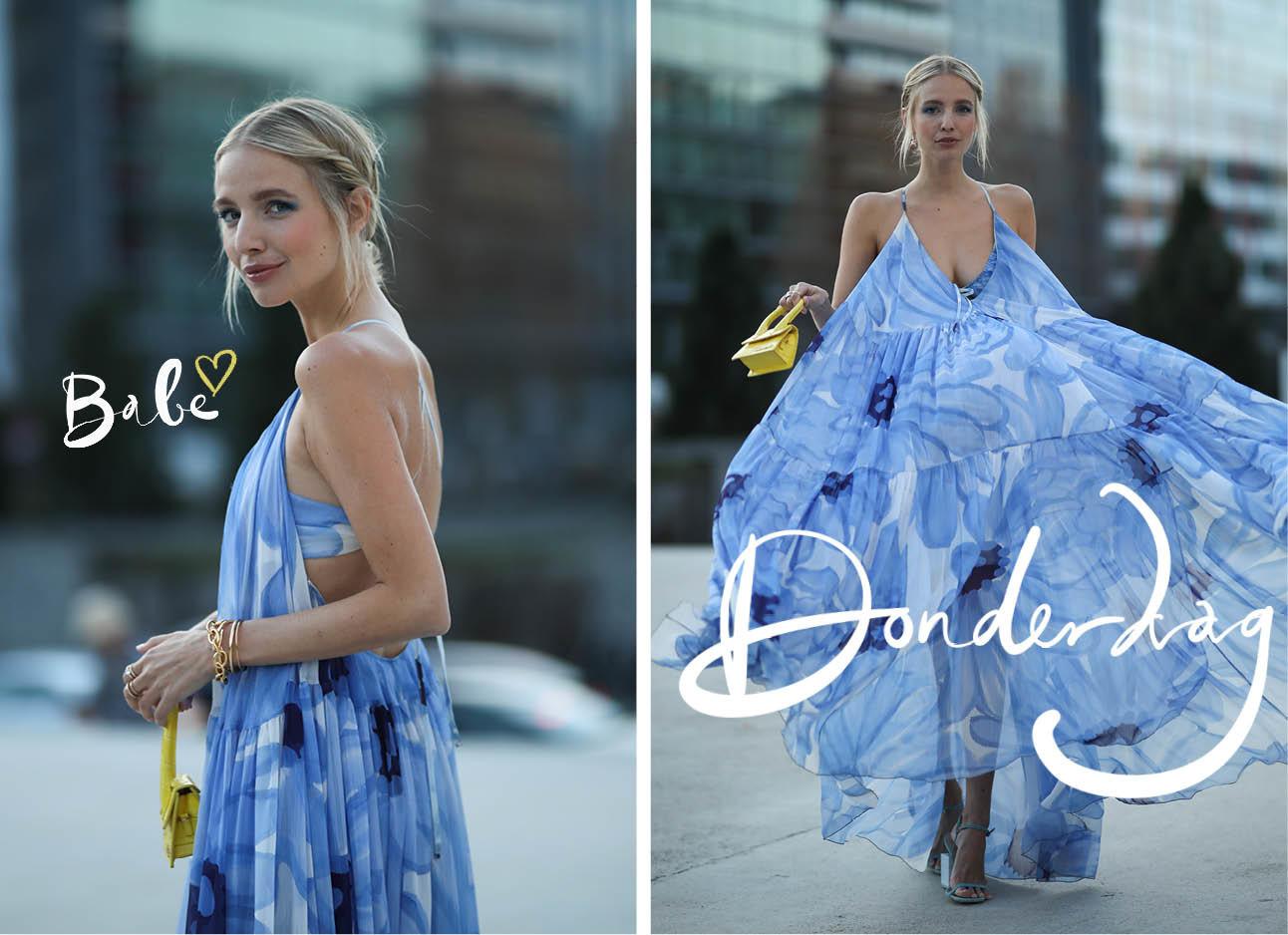 Leonie Hanne blauwe outfit zomers buiten jurk draaien