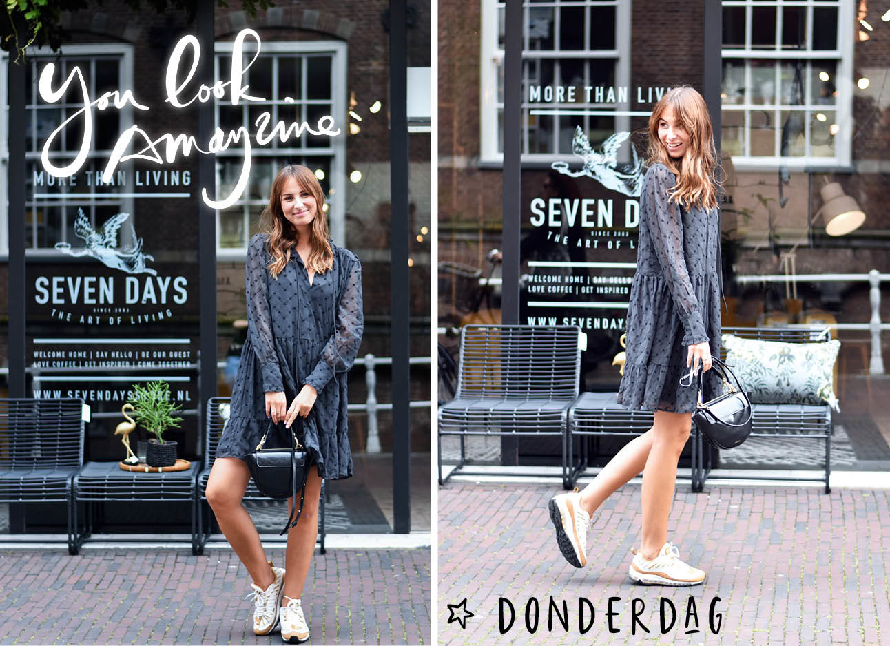 lilian brijl in delft, look of the day, zwarte jurk, sneakers