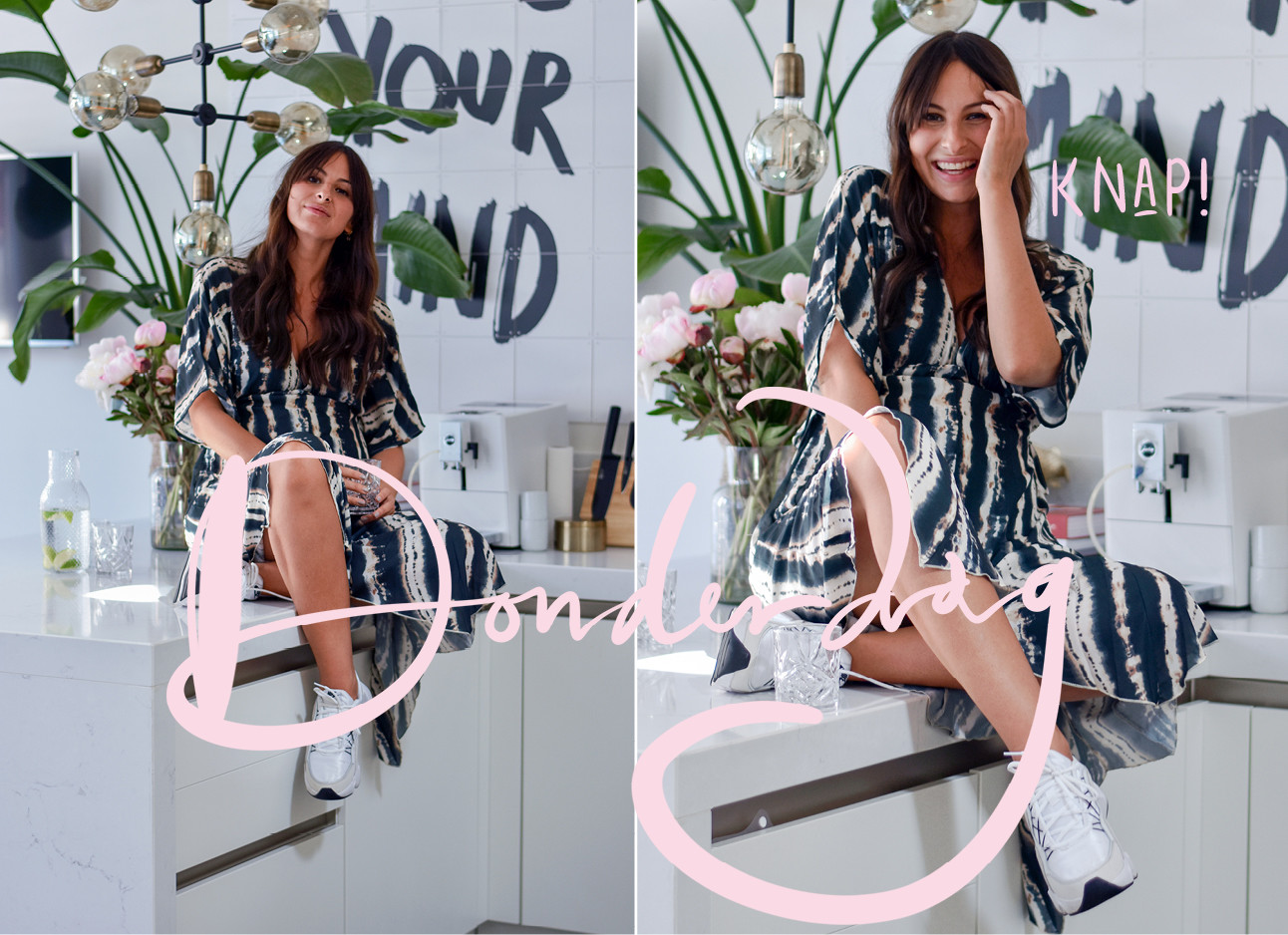 look of the day lilian brijl lachend in een zomers jurkje bij haar thuis in de keuken