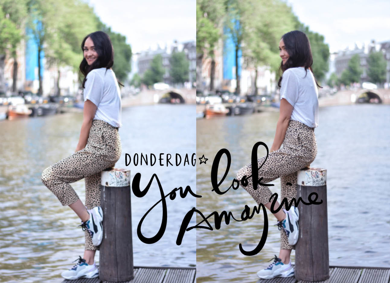 thirza solcer in de look of the day met een panterbroek, wit t-shirt en sneakers