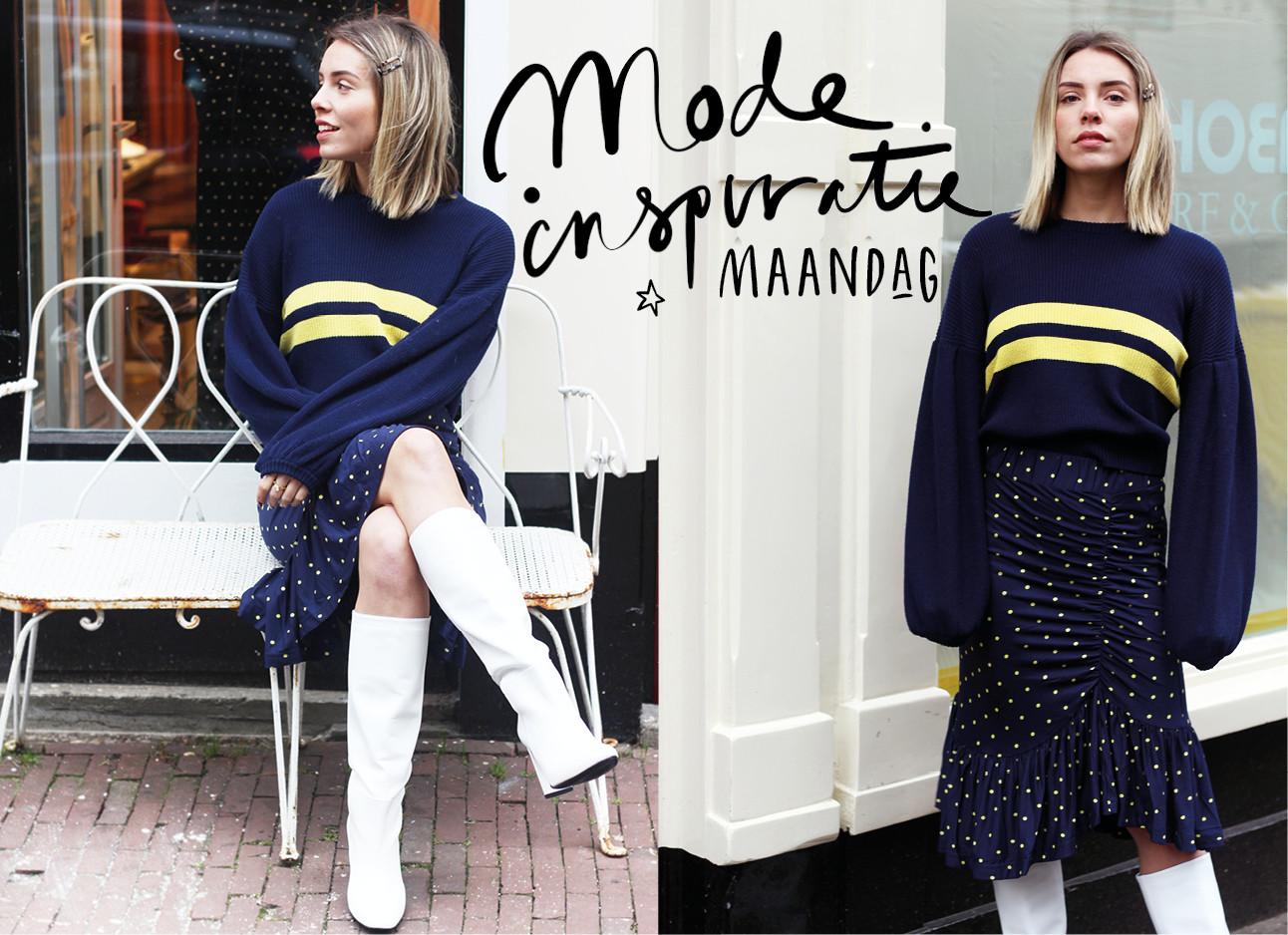 look of the day esmee trouw met witte laarzen in de 9straatjes donker blauwe trui met gele streep