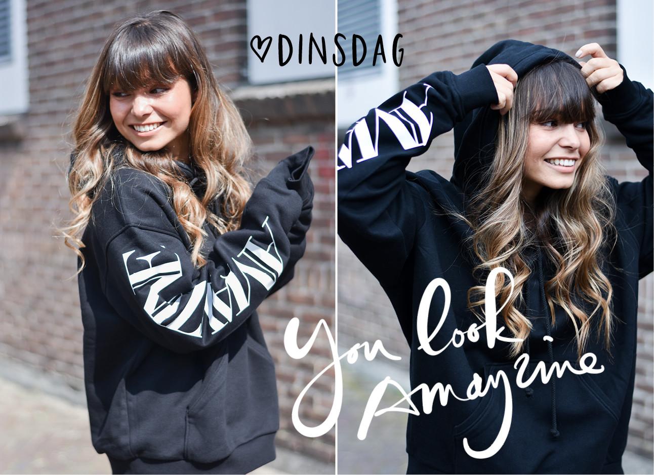 kiki duren in de look of the day van dinsdag met een zwart customized hoodie met het logo van amayzine op de mouw, you look amayzine, dinsdag