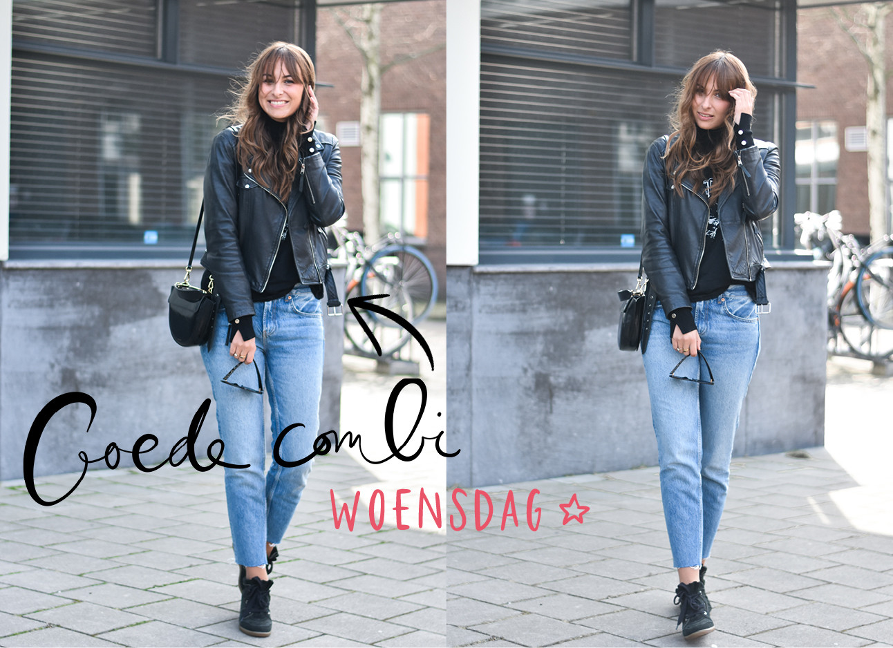 look of the day lilian brijl, jeans, zwart tshirt, leren jasje, wandler tas