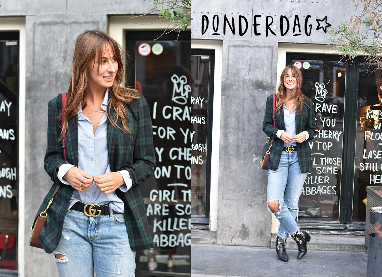 Lilian Brijl in amsterdam voor een restaurant