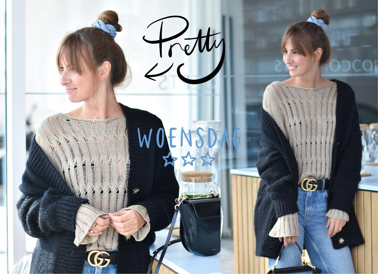 lilian brijl in de look of the day bij coffee concepts, ze draagt een beige/bruine trui met daarover een zwart vest, een lichte jeans, gucci riem, blauwe scrunchie, wandler tas, pretty, woensdag