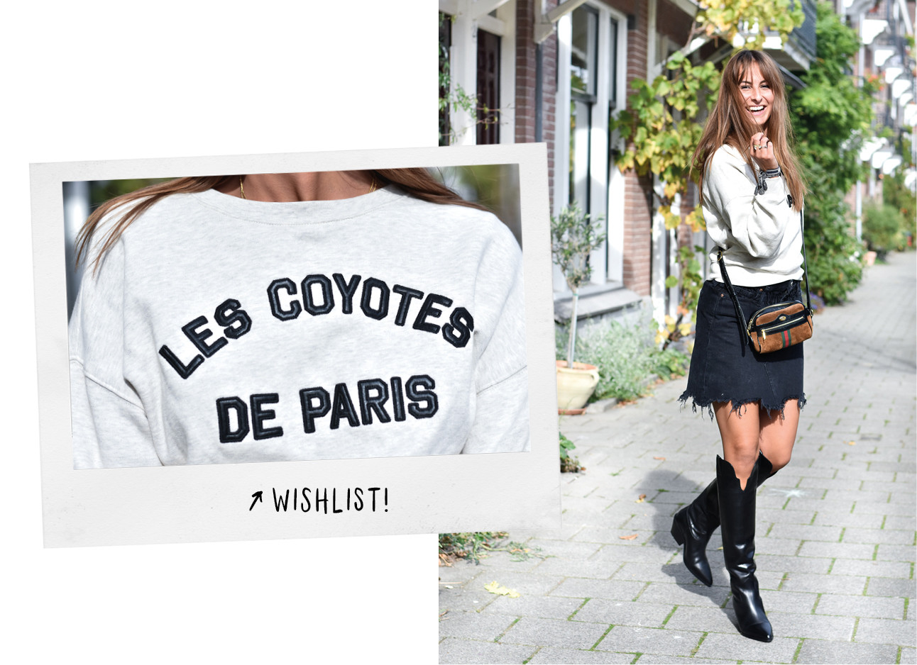 Lilian Brijl in de Look of the day met een grijze trui Les Coyotes De Paris