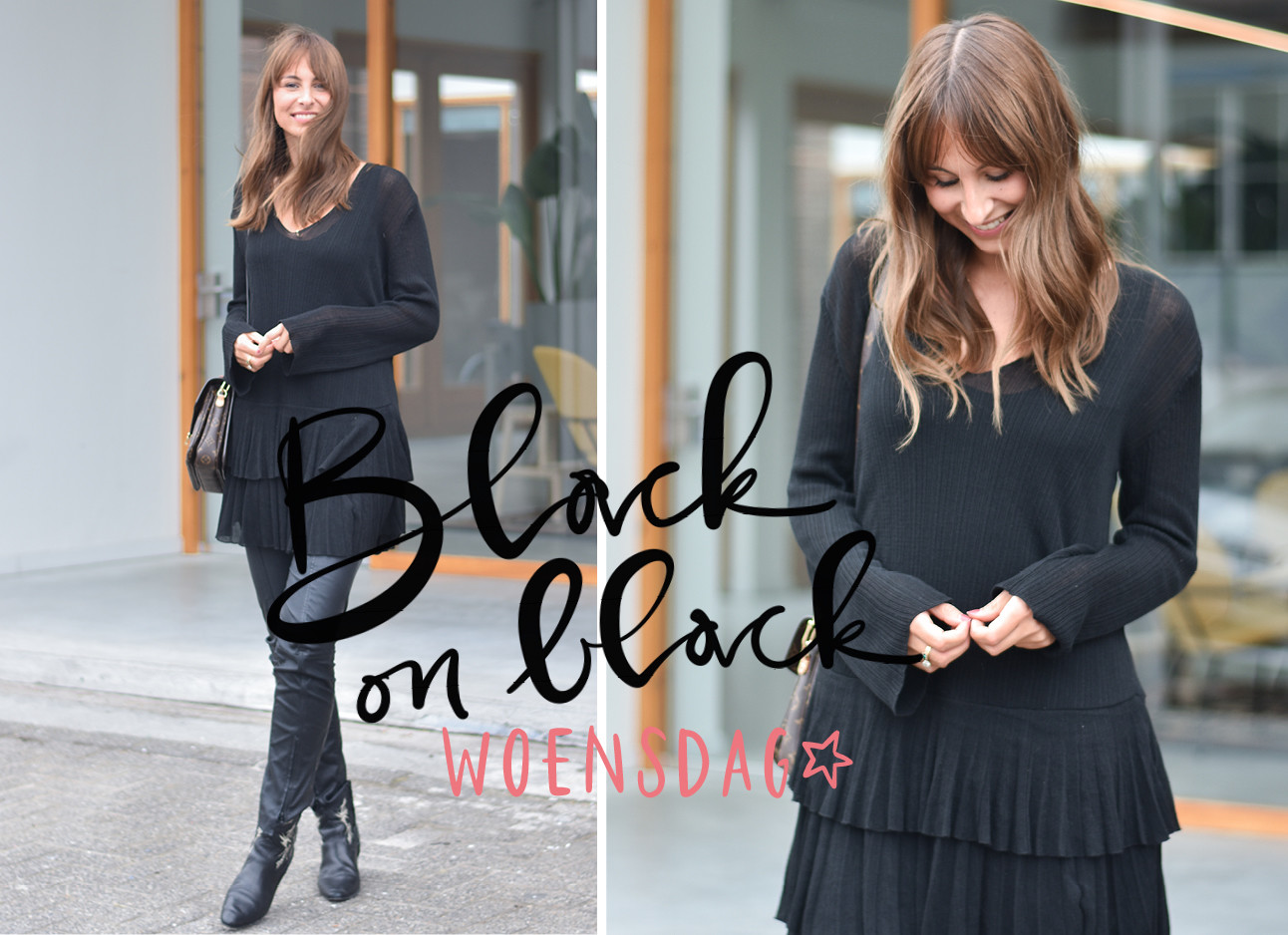 lilian brijl in de look of the day, black on black outfit, woensdag