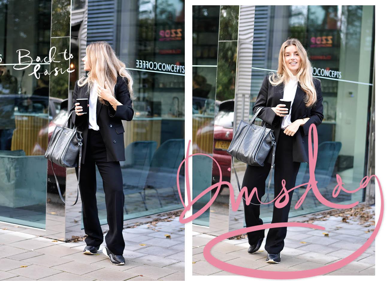Lotte van Scherpenzeel look of the day zwarte outfit wit tshirt Stella MCcartney gympen filippa k broek Hope tshirt balenciage tas grijs
