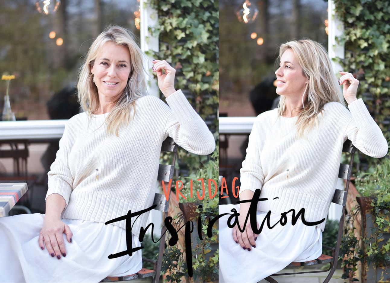 look of the day van marion pauw witte rok en trui, blond haar. vrijdag inspiration