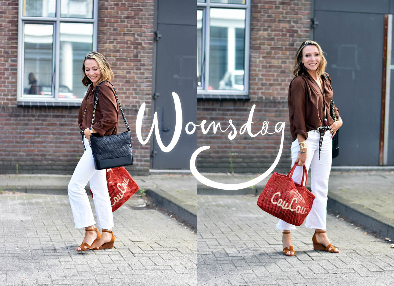 may-britt mobach in de look of the day, witte jeans, donkere blouse, coucou tas