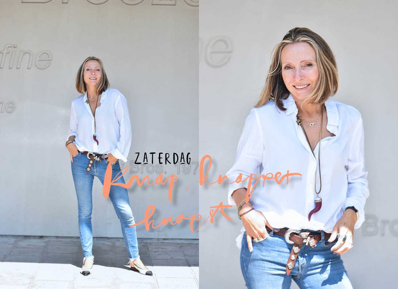 Look of the day may-britt mobach witte blouse en jeans