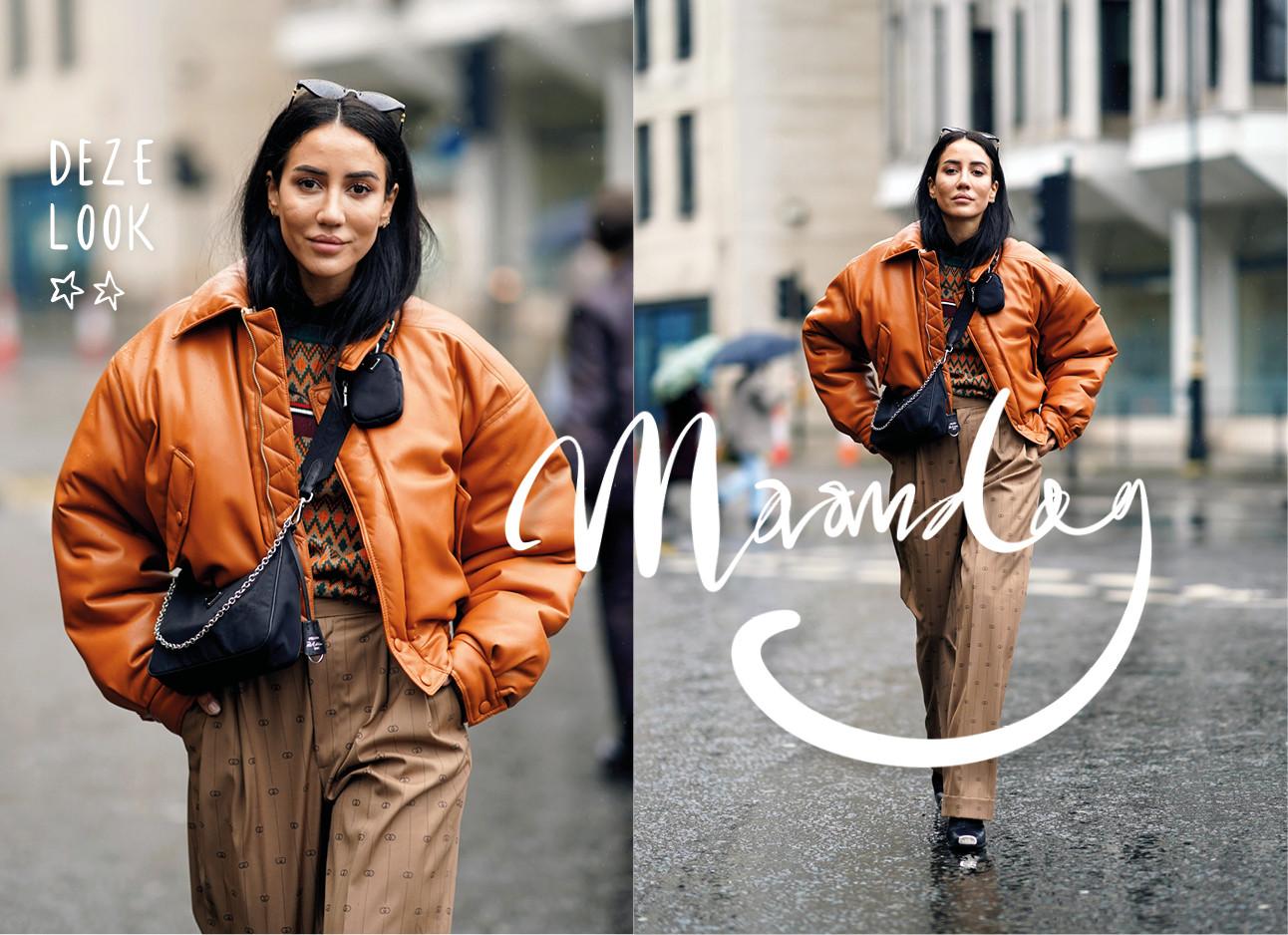 Tamara Kalinic street style foto in oranje puffer