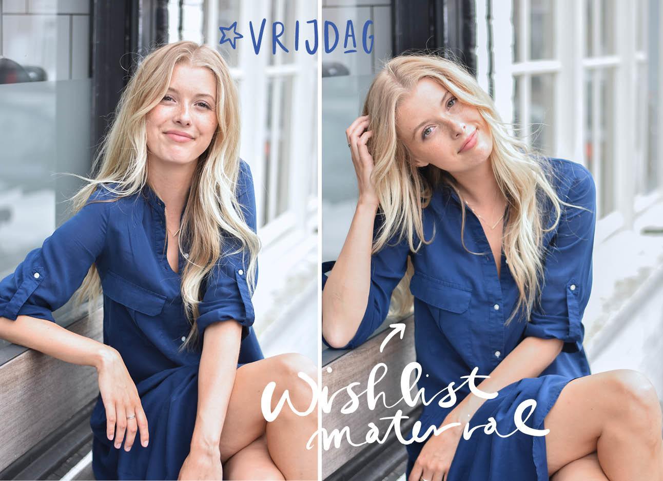 annabelle van hardeveld met blonde krullen in een donkerblauwe jurk