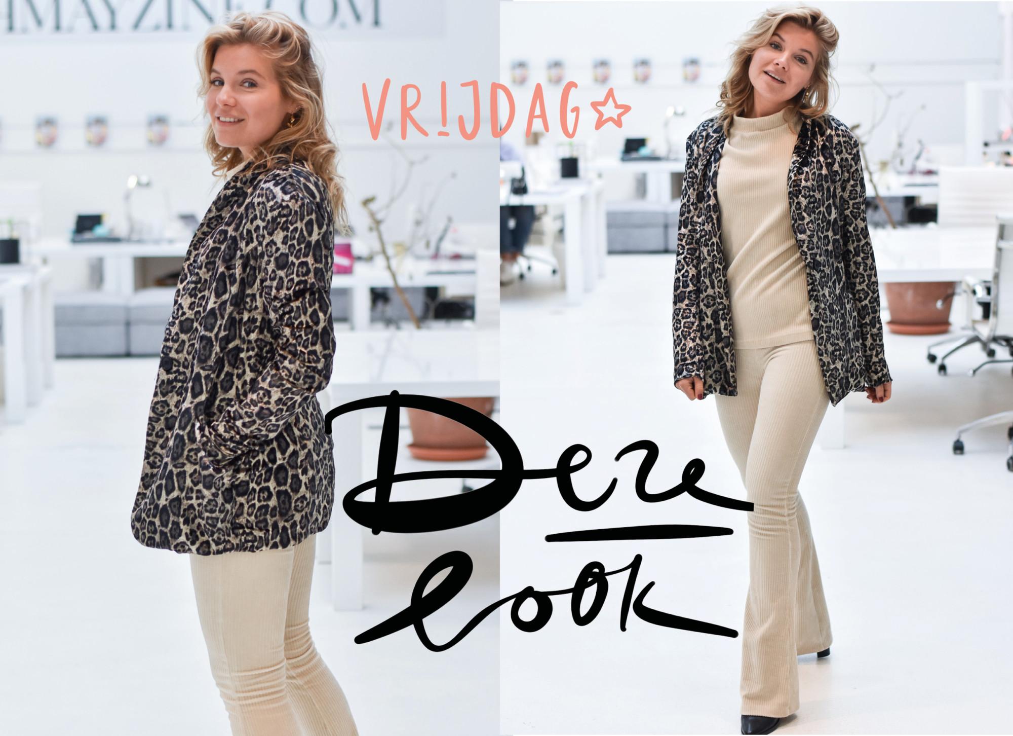 lynn van de vorst in de look of the day. Ze draagt een beige ribbed pak met flare broek van Noor Amsterdam, een print jasje en zwarte enkellaarsjes van nikki.