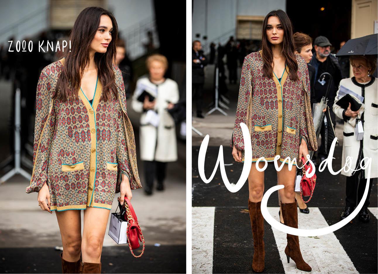 Solange Smith fashion model trui blote benen hoge laarzen
