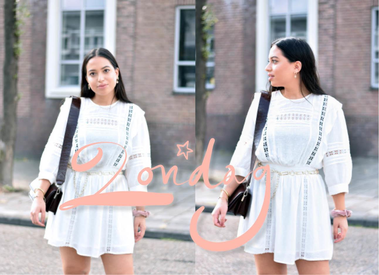 look of the day, witte bohemian jurk H&M, croc tas, calvin klein sneakers