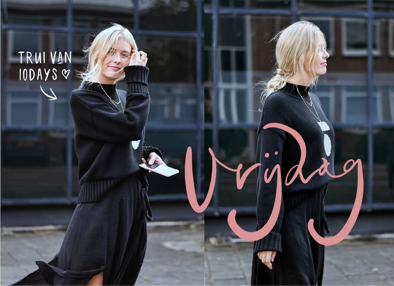 Annabelle in een zwarte rok met een zwarte trui van 10days