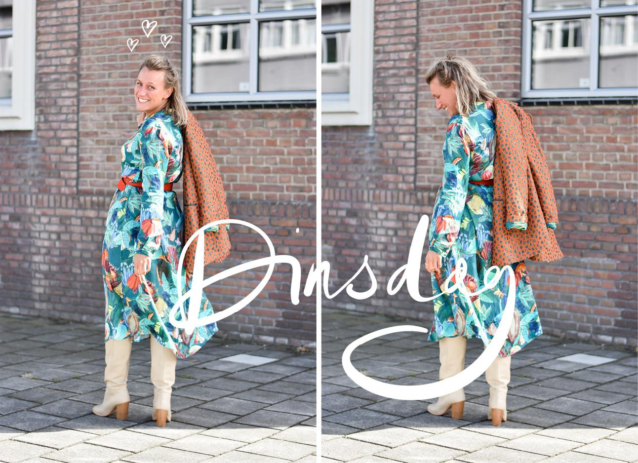LOTD: Céline van Nes. Ze draagt een kleurlijke jurk met een bruin jasje en beige hak laarzen