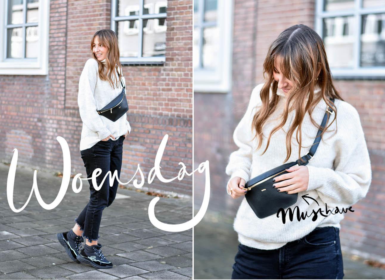 Lilian Brijl lachend buiten musthave tas duifhuizen met licht grijze trui en donkere jeans chanel sneakers