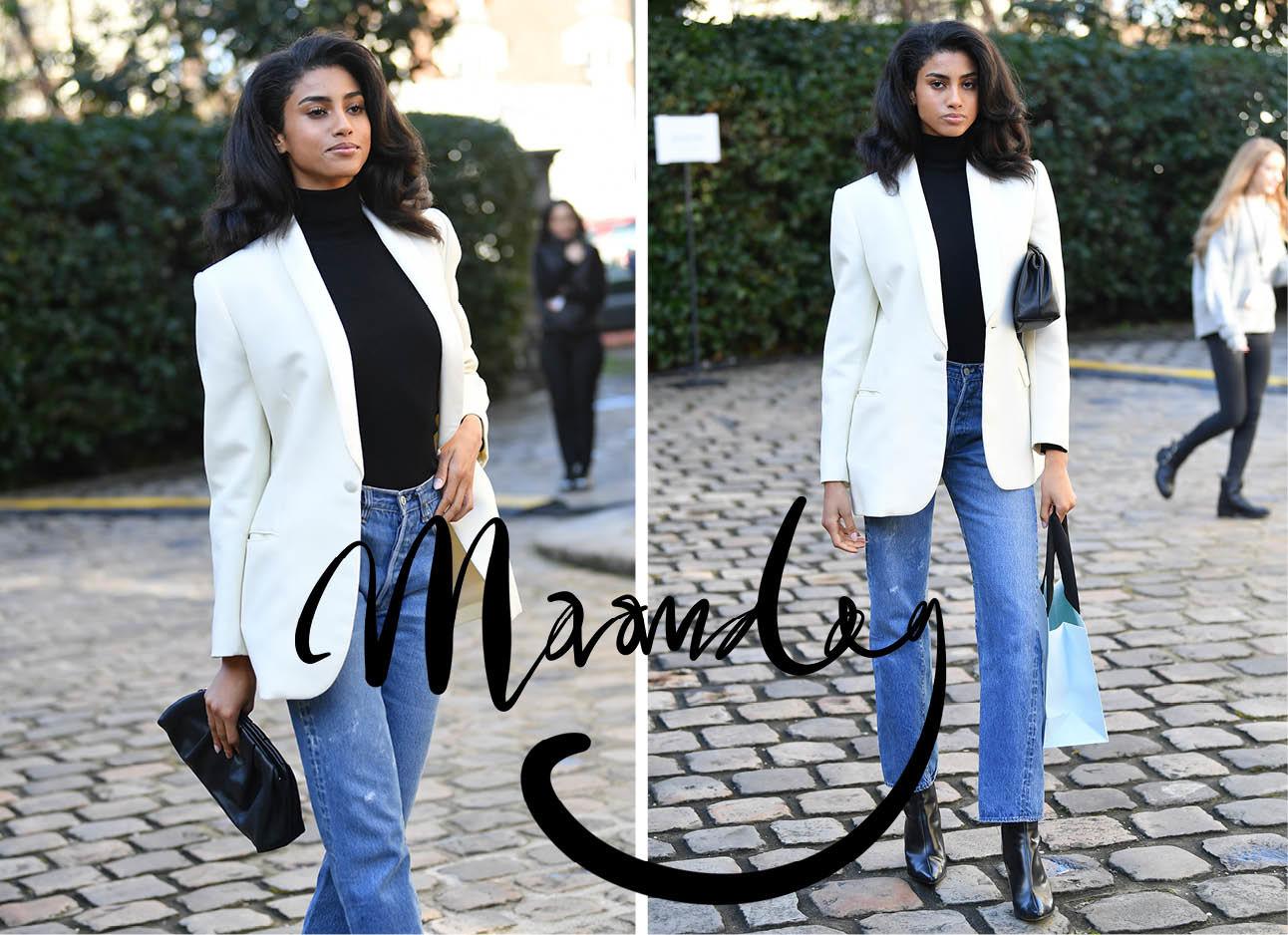 imaan hammam witte blazer met jeans