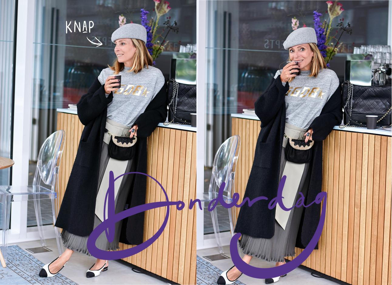 Op de foto staat May-britt in een outfit van Pauw