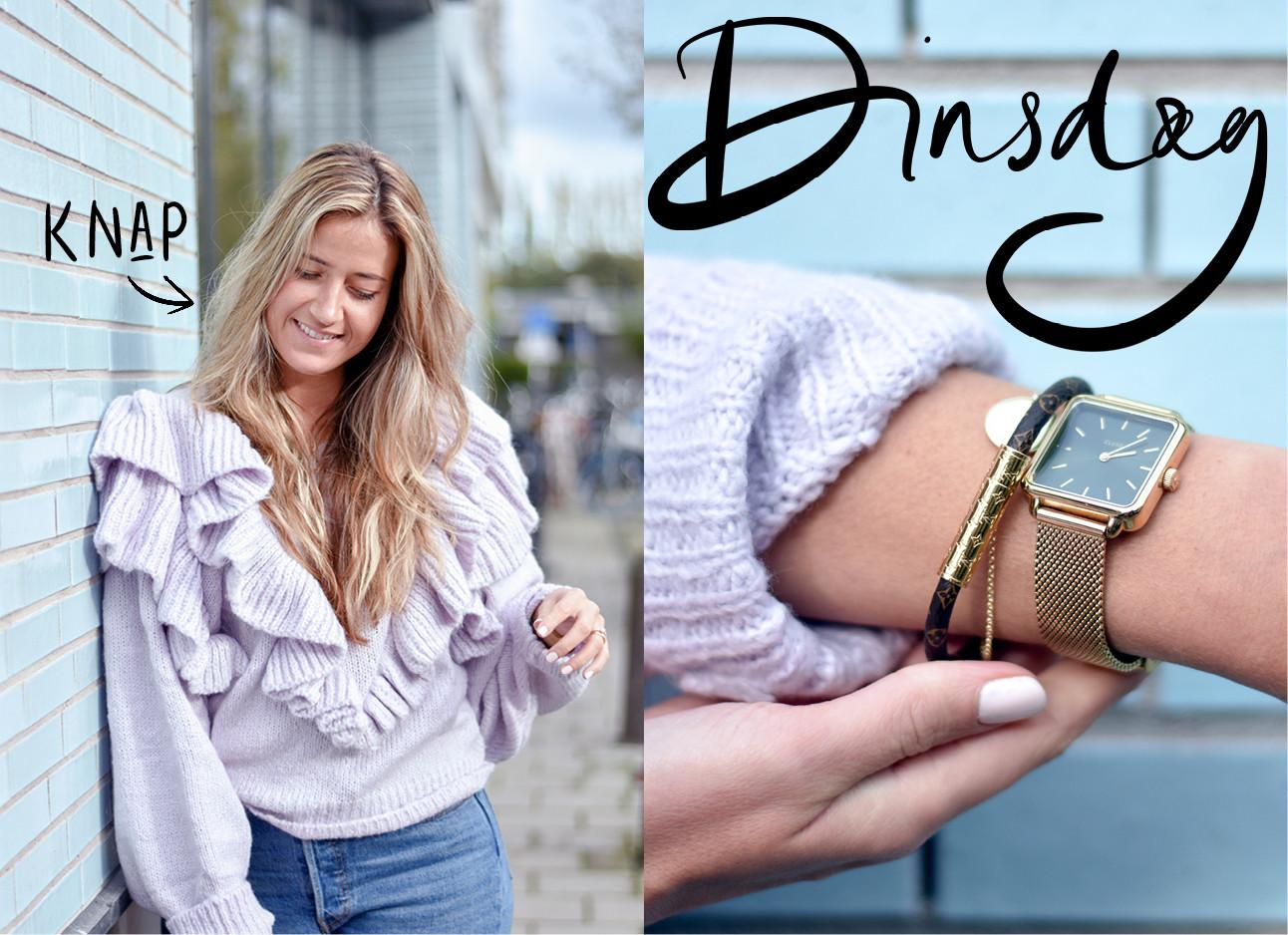 tessa die een roze draagt en haar horloge en armband showt