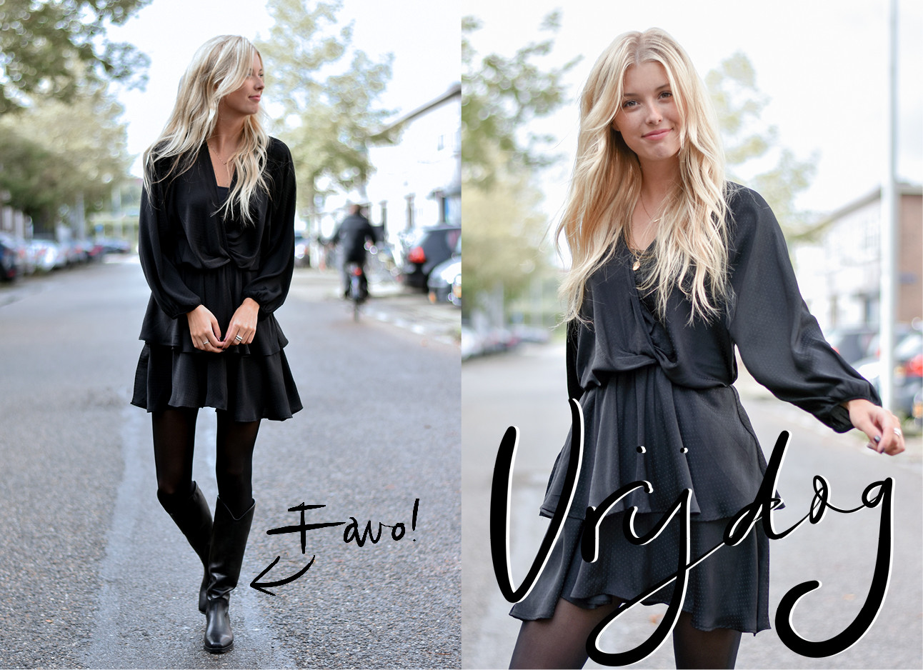 annabelle die een zwarte jurk draagt en buiten op straat loopt