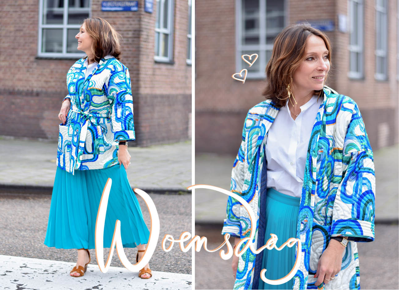 may in een blauwe rok met blauwe top en witte blouse