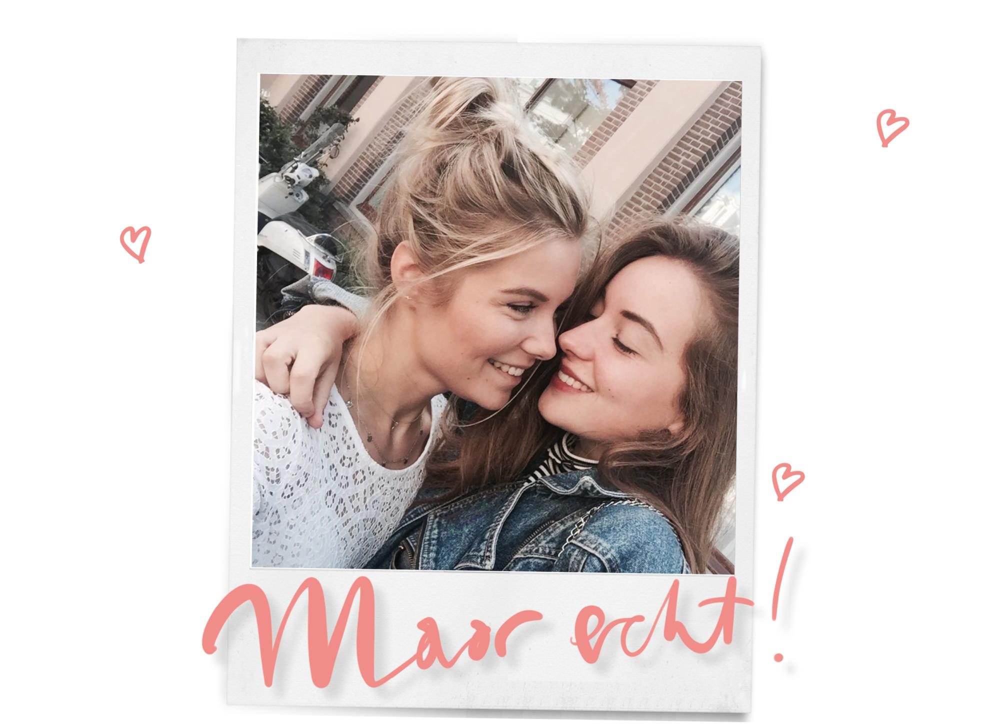 lynn en haar zusje in een polaroid met hartjes en de tekst maar echt