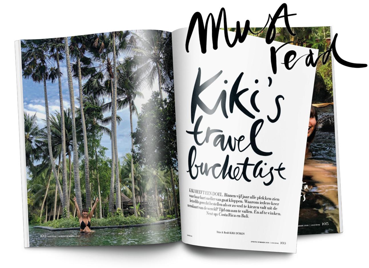 beeld uit het magazine met kikid in een zwembad ligt