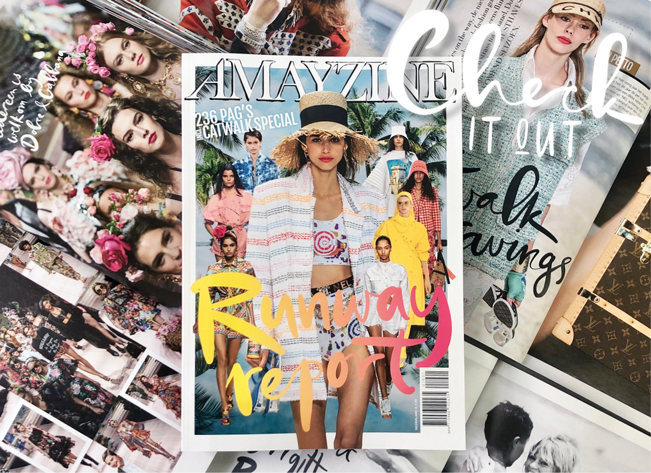 runway issue amayzine lading on top of magazines