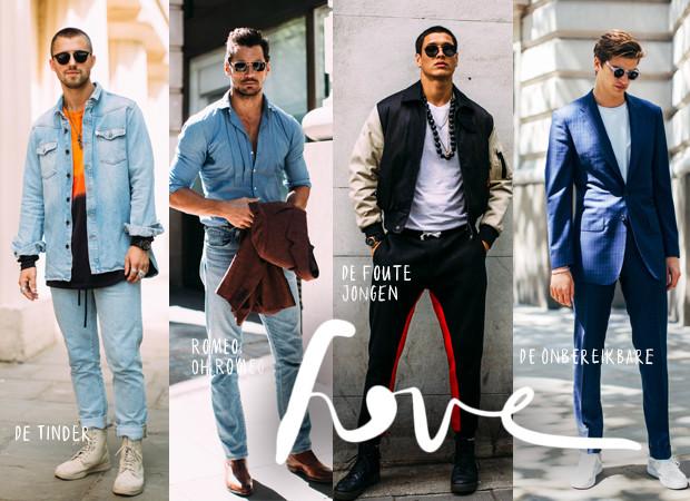Vier verschillende mannen op straat in blauwe kleding en trainingsbroek