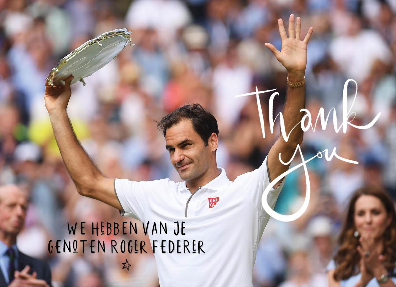 roger federer Wimbledon finale lachend wedstrijd verloren zwaaiend met armen om hoog na wedstrijd kate middleton op de achtergrond