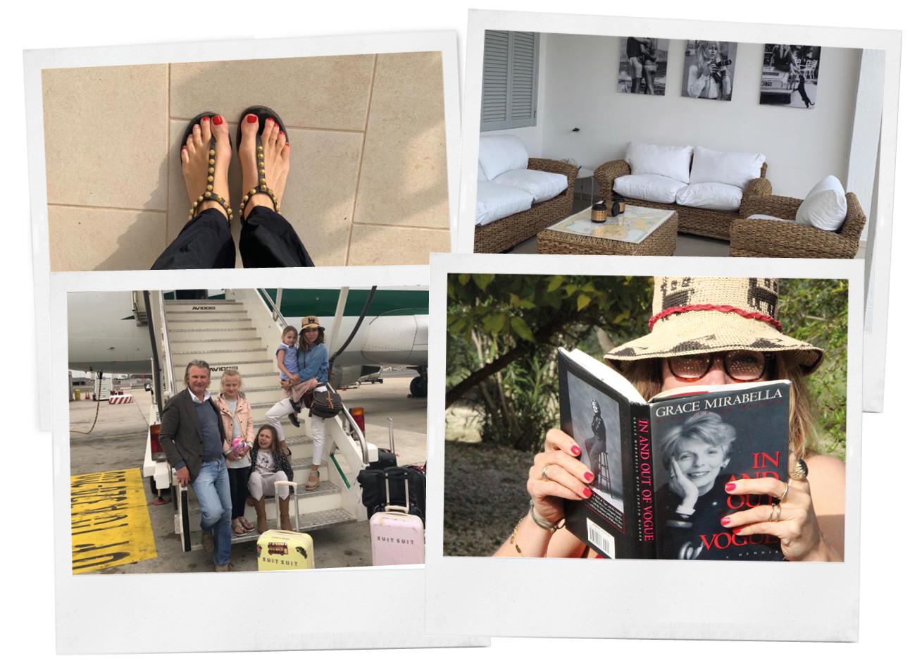 polaroids van may haar vakantie, bikini boek lezen met zomerhoed, sandalen met gelakte teennagels, familie foto bij het vliegtuig, suitsuitkoffers, interieur van het vakantiehuis