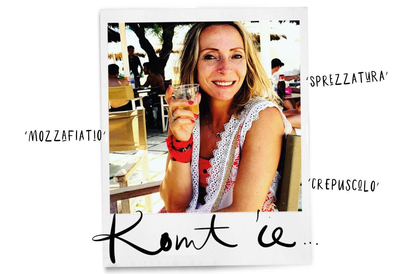 may in italie met een drankje in haar hand