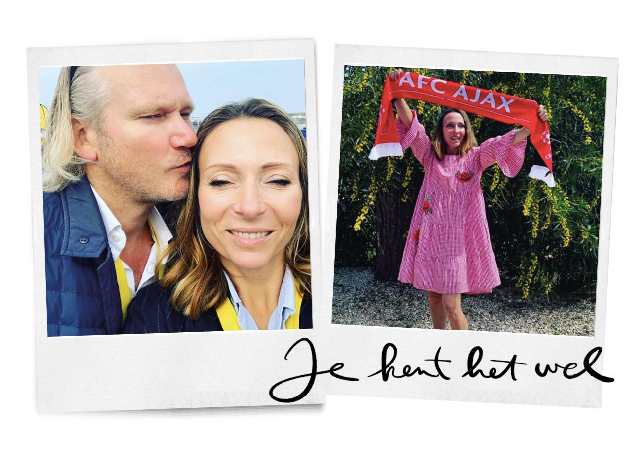 may-britt mobach met haar man eward bij de jumbo race dagen en may in een roze jurk met een ajax sjaal
