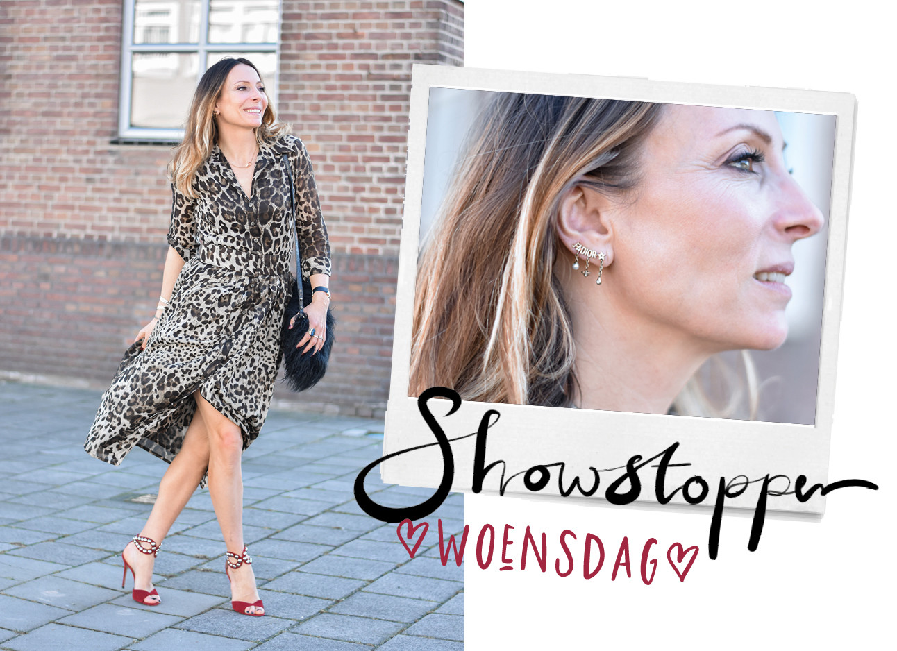 may-britt mobach in summer leopard dress, bordeaux red heels, jewelry, tekst: showstopper woensdag