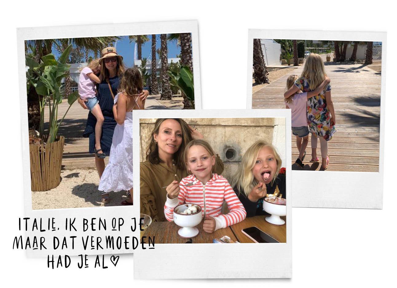 mays holiday, ijsjes eten met haar dochtertjes