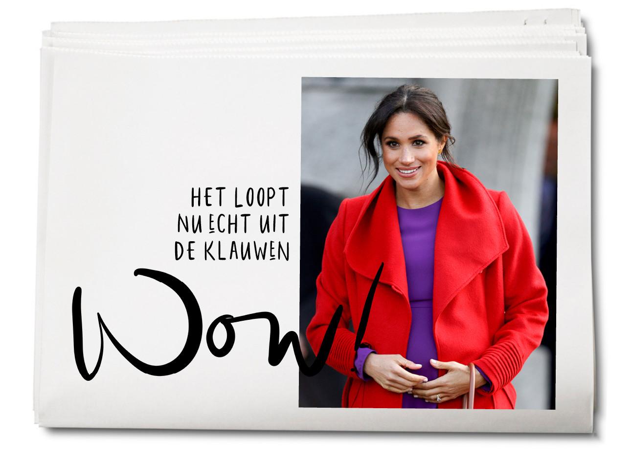 Meghan markle in rode jas met paarse jurk
