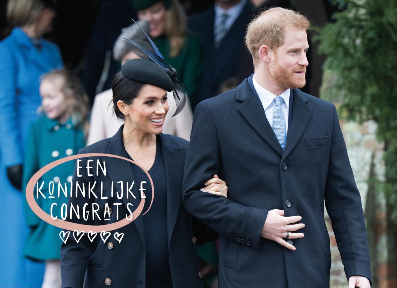 Meghan Markle en Prince harry lachend buiten